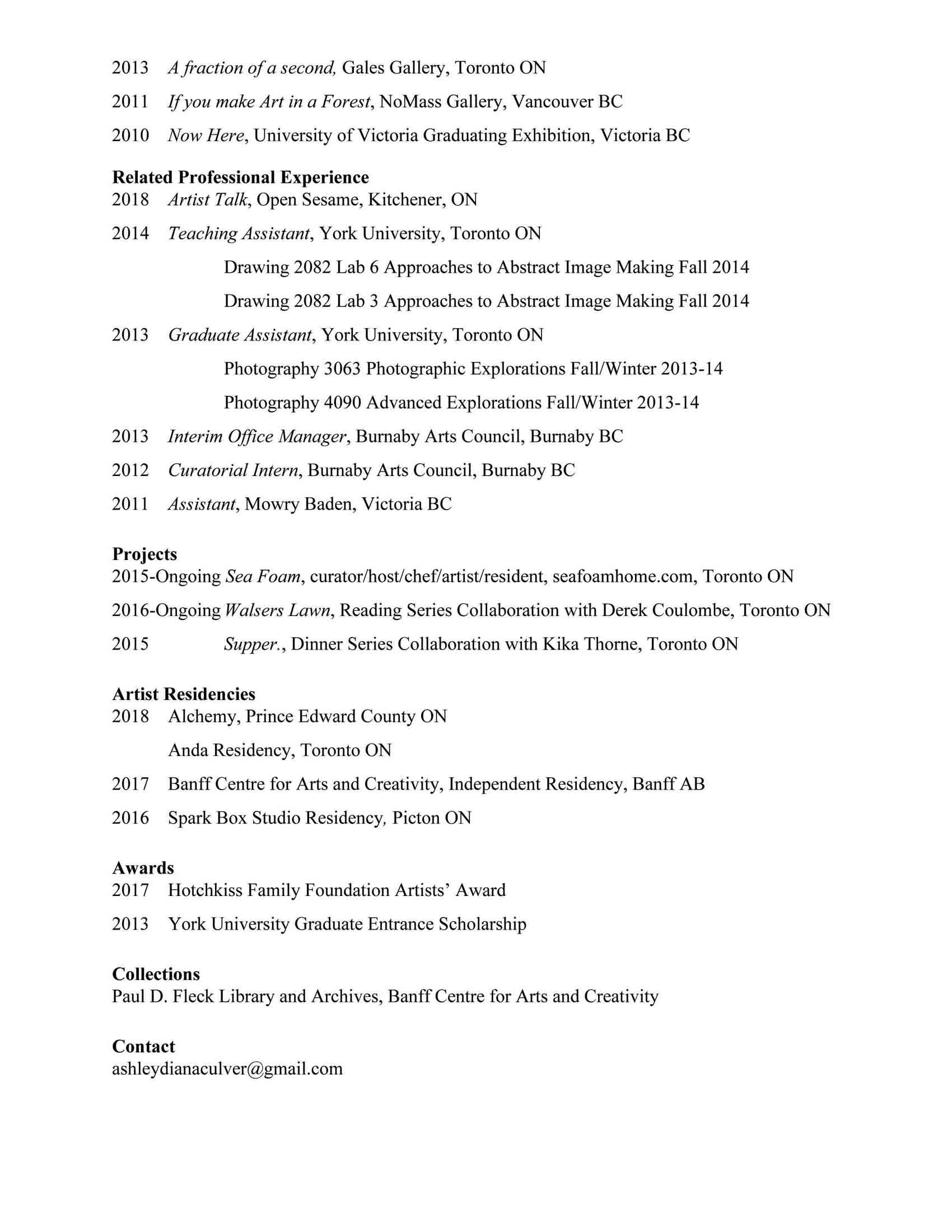 Curriculum Vitae Ashley Culver